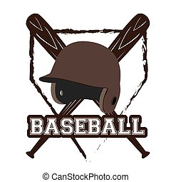 Baseball - Isolated emblem with a pair of bats and a helm on...