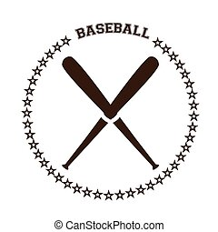 Baseball - Isolated pair of baseball bats with text and...