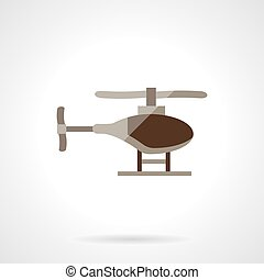 Military helicopter flat color vector icon - Brown single...