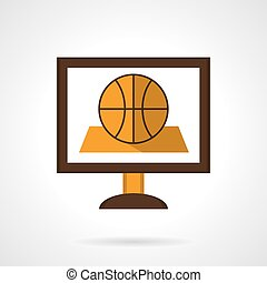 Basketball online flat color vector icon - Basketball game...