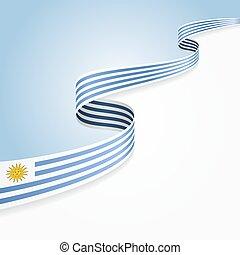 Uruguayan flag background. - Uruguayan flag wavy abstract...