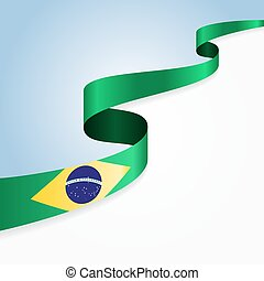 Brazilian flag background - Brazilian flag wavy abstract...