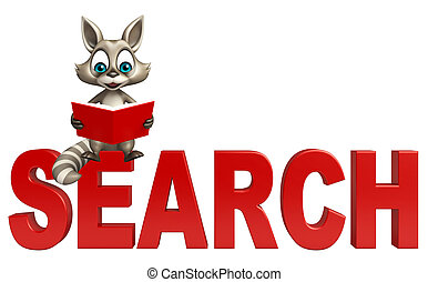 Raccoon cartoon character with books and search - 3d...