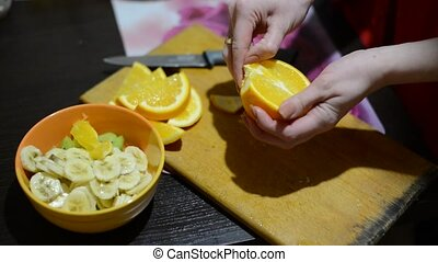 oranges sliced for fruit salad