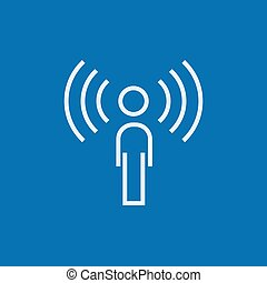 Man with soundwaves line icon. - Man with soundwaves thick...