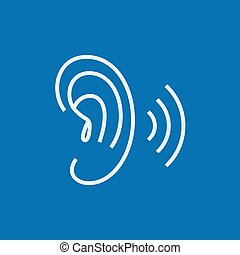 Human ear line icon - Human ear thick line icon with pointed...