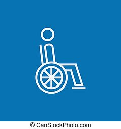 Disabled person line icon - Disabled person sitting in the...