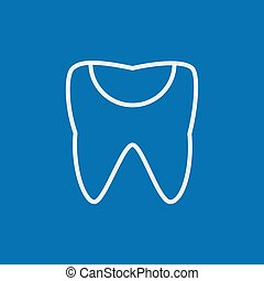 Tooth decay line icon - Tooth decay thick line icon with...