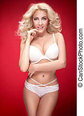 Beautiful natural woman in white lingerie. - Beautiful...