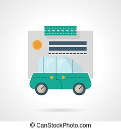 Car loan flat color vector icon - Green automobile and paper...