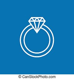 Diamond ring line icon - Diamond ring thick line icon with...