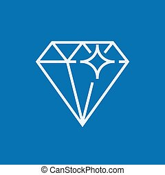 Diamond line icon - Diamond thick line icon with pointed...