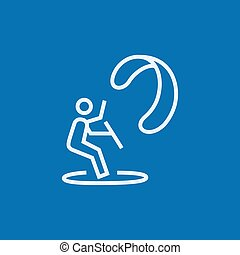 Kite surfing line icon. - Kite surfing thick line icon with...