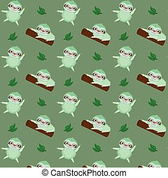 Vector pattern with cute cartoon sloth