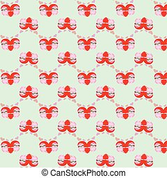 Vector pattern by Valentines Day with cute cartoon sloth and...