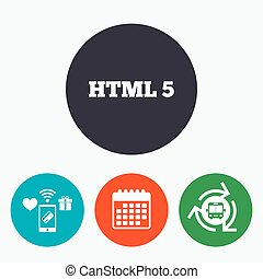 HTML5 sign icon New Markup language symbol Mobile payments,...