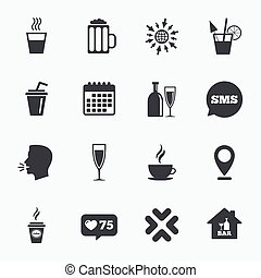 Cocktail, beer icons Coffee and tea drinks - Calendar, go to...