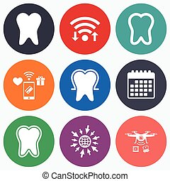 Tooth enamel protection icons Dental care signs - Wifi,...