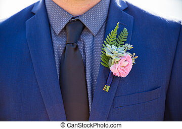 Groom Boutineer and Blue Suit - Fashionable Groom on his...