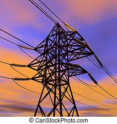 High voltage power line in sunset - High voltage power line...