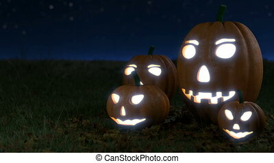 glowing halloween pumpkins on grass field with dark sky - 3D...