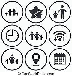 Family with two children sign Parents and kids - Clock, wifi...