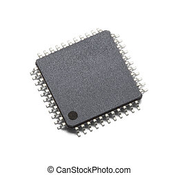 Microchip - Black Microchip With Copy Space Isolated on...