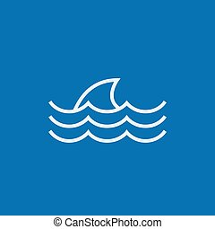 Dorsal shark fin above water line icon. - Dorsal shark fin...