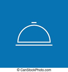 Restaurant cloche line icon. - Restaurant cloche thick line...