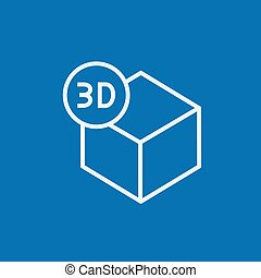 Three D box line icon - Three D box thick line icon with...