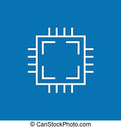 CPU line icon. - CPU thick line icon with pointed corners...