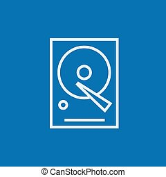 Hard disk line icon. - Hard disk thick line icon with...
