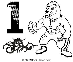 muscle lion american football uniform in vector format