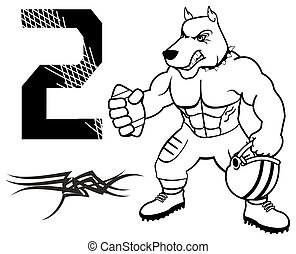 muscle dog american football uniform in vector format
