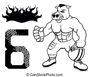 muscle wild pig american football uniform in vector format