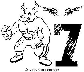 norteamericano, músculo, fútbol, toro