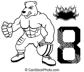 muscle bear american football uniform in vector format