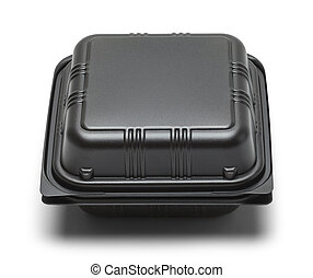 Black Take Out Box - Black Plastic Take Out Box Isolated on...