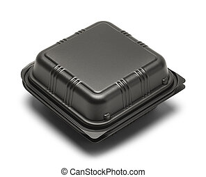 Food Take Out Box - Black Plastic Take Out Box Isolated on...
