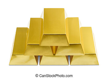 Gold Bars - Pile of Gold Bars on a White Background.