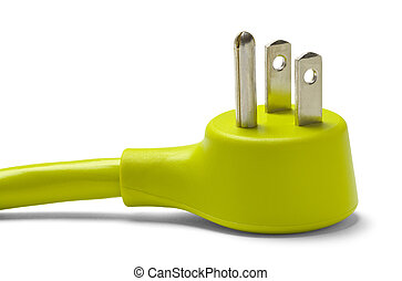Green Power Plug - Green Electrical Cable Plug Isolated on...