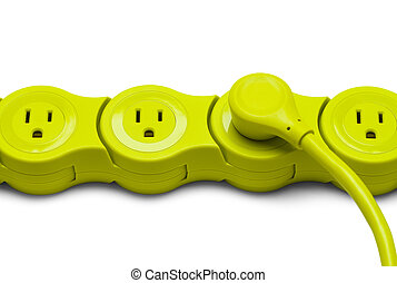 Green Power Strip with Cord Isolated on White Background.