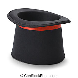 Magic Black Top Hat - Black Top Hat Upside Down Isolated on...