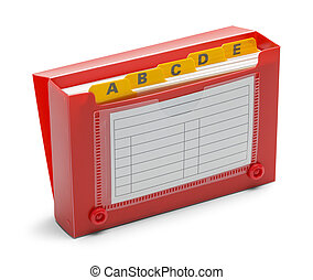 Open Red Index Card Holder - Red Index Card Holder Isolated...