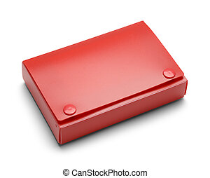 Red Index Card Holder - Closed Index Card Holder Isolated on...