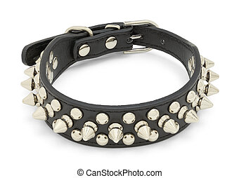 Spike Collar - Black Leather Dog Spike Collar Isolated on...