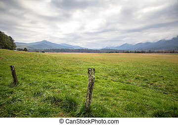 Cades Cove Panorama Landscape - Smoky Mountain horizon of...