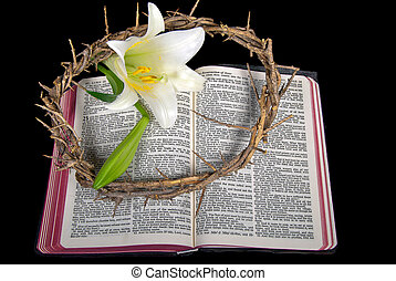 Easter lily on Bible - Crown of thorns and Easter lily on...