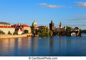 Evening Prague - Vltava river and Charles Bridge