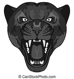 Panther Portrait. Angry wild big cat head. Cute face of...